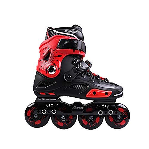 FYHCY Herren Damen Inliner Inlineskates Rollen ABEC7 Chrome Kugellager Unisex Fitness Skates für Erwachsene Anziehen schwarz/rot/weiß Red,43