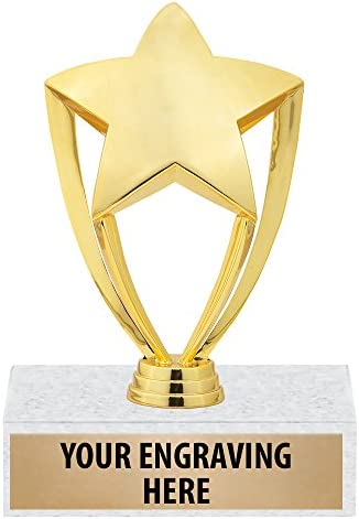 Star Trophy with Customized Engraving and Perfect for Employee Recognition Trophies and Awards Prime 11 Inch Gold Star Trophies