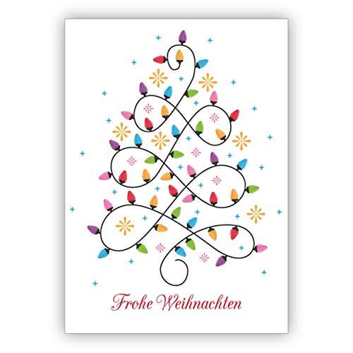 Mooie kerstkaart met edele licht-kerstboom: Vrolijk kerstmis • Kerstmis wenskaarten set met enveloppen voor het feest van de liefde voor familie en vrienden 1 Weihnachtskarte