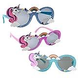 STOBOK 3 occhiali da sole per feste con unicorno, con brillantini, arcobaleno, per feste di compleanno, per bambini, per feste e feste (rosa, blu scuro, azzurro)