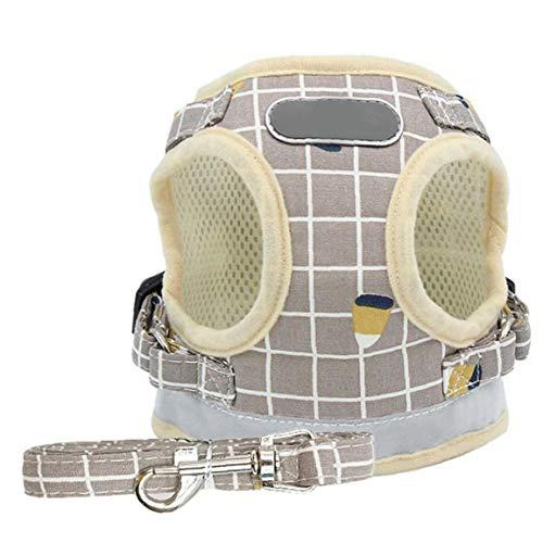 fedsjuihyg Arnés Pequeño Perro Juegos De Cables Perrito del Chaleco Arneses No Tire Ajustable Reflectante para Mascotas Pequeña Mediana Caqui XL Cómodo No Apriete