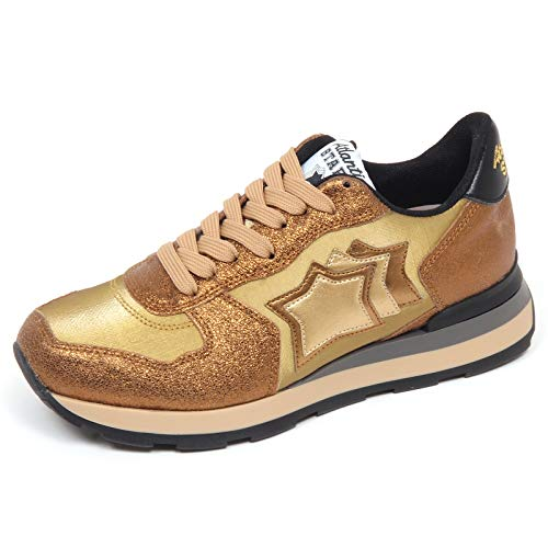 Atlantic Stars F7662 Sneaker Donna Gold Vega Cracked Effect Shoe Woman [35]