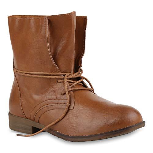 Bequeme Damen Schuhe Stiefeletten Stiefel Reiterstiefel Basic 124805 Braun38 Flandell