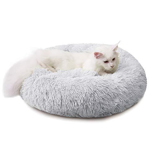 Cama para Perros Cama Redonda de Felpa Suave para Mascotas Almohada para Perros Sofá para Gatos Gris Claro 50cm