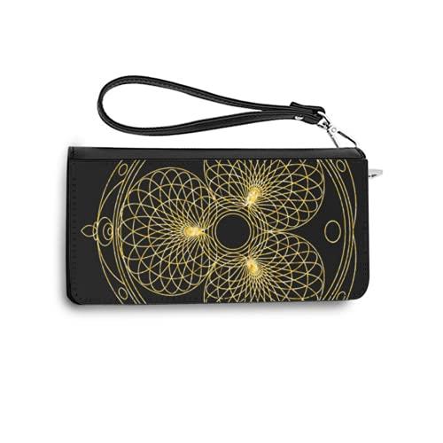 Carteras de Mujer Monedero Largo de Cuero Gold Mandala for Coloring Book Decorative Black Round Outline Ornament Unusual Flower Shape orientalPU de Moda Cartera con Tarjetero para Mujer Organi