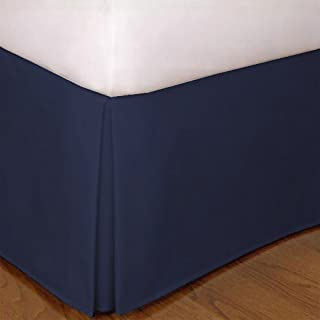 """Mk Collection King Size Solid Pleated Bed Skirt with 14"""" Drop Navy Blue New"""