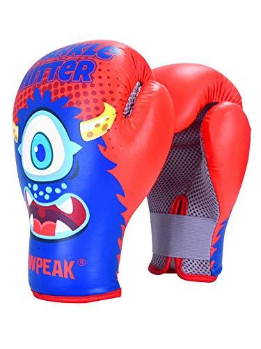 GLOWPEAK Boxing Muay Thai Style Kids Strike Gloves Training Punching Gloves Child (Red)