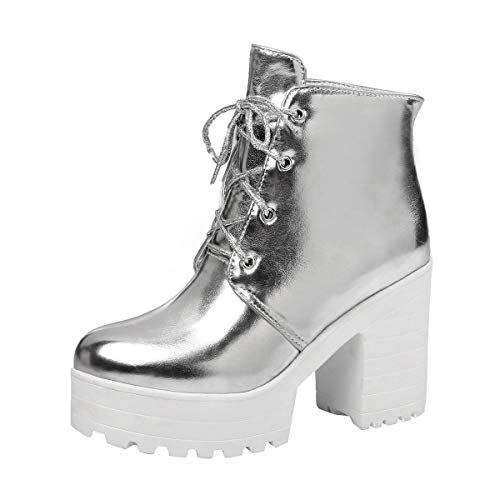 MISSUIT Damen Schnürstiefeletten Blockabsatz Stiefeletten mit Schnürung und 9cm Absatz Plateau Ankle Boots Winter Schuhe(Silber,39)
