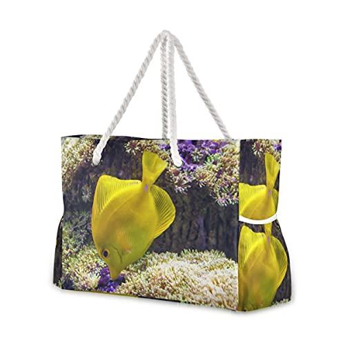 Bolsas de playa grandes Totes de lona Bolsa de hombro Sea Yellow...