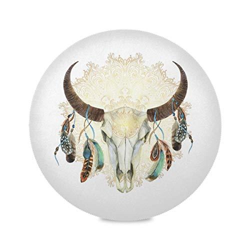 ALARGE - Mantel Individual Redondo, diseño de Calaveras de Vaca India, Lavable, Resistente al Calor y a Las Manchas, Juego de 1 Unidad, 4 Piezas