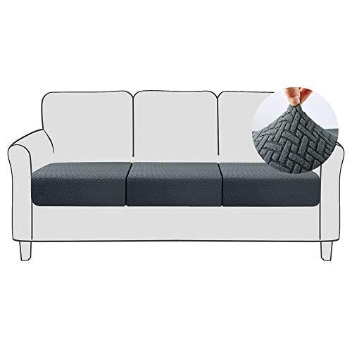 Qishare 3 Piezas Funda de cojín para sofá Funda elástica para Asiento de sofá Funda Protectora con Fondo elástico Lavable Fundas de cojín de sillón universales súper Suaves (Gris, 3)