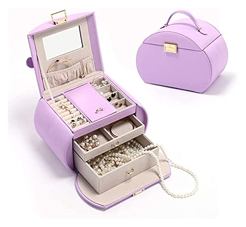 BBGSFDC Scatola di stoccaggio Box for gioielli for ragazze Custodia for gioielli bloccabili for bambini Gioielli Organizzatore con 2 cassetti e specchio for anelli Bracciali orecchini Gioielli Deposit