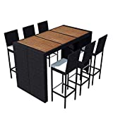 Ausla Bar-/Gartenmöbel-Set 7-teilig (1 Bartisch + 6 Barhocker + 6 Sitzkissen) aus Polyrattan schwarz – leichte Konstruktion, einfach zu bewegen