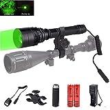 Torche Lampe de Poche LED, Torche de Chasse au Feu Vert, Zoomable 600 Lumens Rechargeable Étanche Lampe de Chasse au Coyote avec Interrupteur de Pression et Batterie