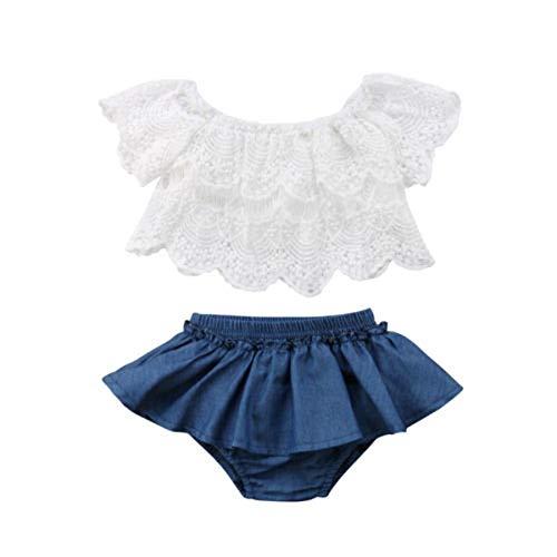 Conjunto de ropa de bebé de verano de 2 piezas, camiseta cuello de barco con encaje + falda pantalón corto con elástico casual, bonito 0 – 24 meses blanco y azul. 2-3 Años