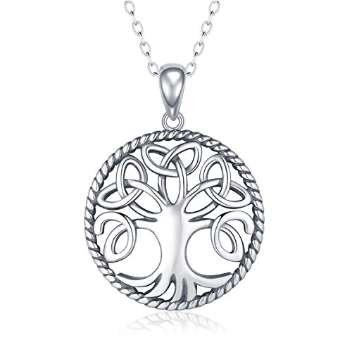 APOTIE 925 Silver Celtic Knot Tree of Life Pendant Necklace Jewelry Gift for Women Girls