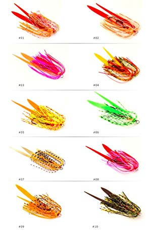 L-MEIQUN, 10pcs Silicone Rubber Gonna Rig Assist Hook Replacement for Slider Tai Kabura Jig Inferiore Madai Squid Snapper Jigging FishingLure (Colore : Mixed Colors)