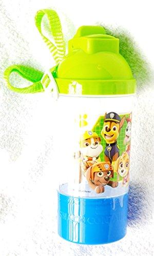 Botella de agua de la Patrulla Canina – Rock N Sip Snack Canteen verde y azul botella de agua con cordón extraíble y ajustable – varios personajes de la Patrulla Canina