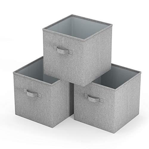 SimpleHome Aufbewahrungsbox, 3er-Set Faltbare Aufbewahrungskiste ohne Deckel stabil und abwaschbar grau 37x34x33cm