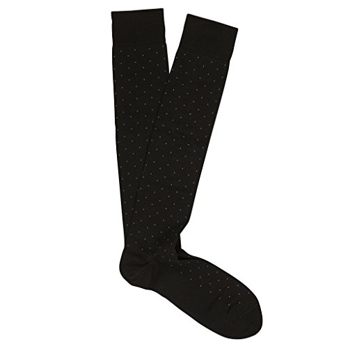 Marcoliani Milano Men's Pin Dot Over The Calf Pima Cotton Lisle Socks, Black, One Size Fits Most