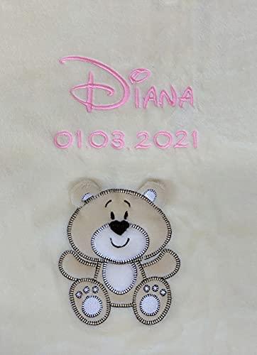 Babydecke bestickt mit Name und Geburtsdatum/kuschelig weich / 1A Qualität nach Ökotex 100 Standard - farbecht (Beige - BÄR)