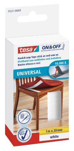 tesa On & Off Klettband zum Aufnähen und Aufkleben, weiß, 1m x 20mm