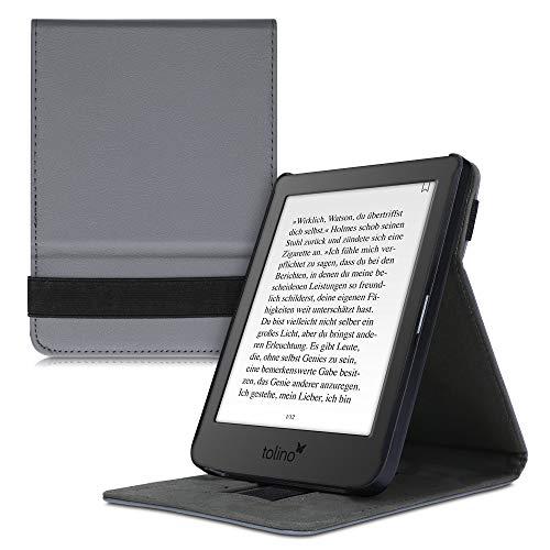 kwmobile Hülle kompatibel mit Tolino Page 2 - Schlaufe Ständer - e-Reader Schutzhülle - Anthrazit