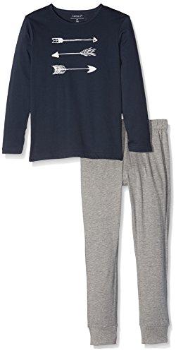 NAME IT Jungen NKMNIGHTSET Mel NOOS Zweiteiliger Schlafanzug, Mehrfarbig (Grey Melange), 128