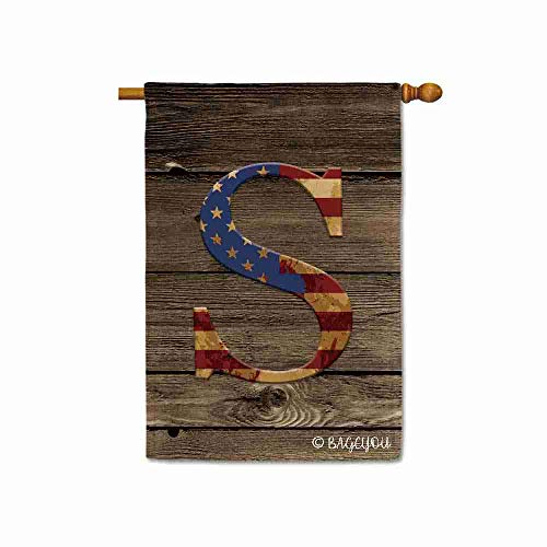 BAGEYOU US Flag Decorative Monogram S Patriotic House Flag Initial Letter Wooden Banner for Outside 28x40 Inch Printed Double Sided