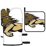 Puilkfgt Lion Jump Cartoon Logo Mascot Design Horno Mitones y agarraderas 3 PCS Herramientas de Cocina Antideslizantes