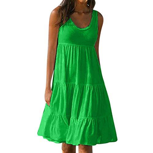 ReooLy Vestido de Verano para Mujer Fiesta de gradiente de Color Sin Mangas Fiesta Falda de Playa(Verde,XXXL)