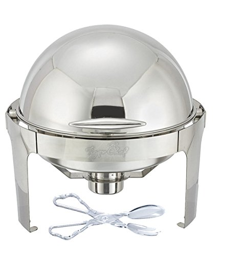 Tiger Chef 6 Quart Stainless Steel Round Roll Top Chafer Chafing Dish Set With A Serving Tong