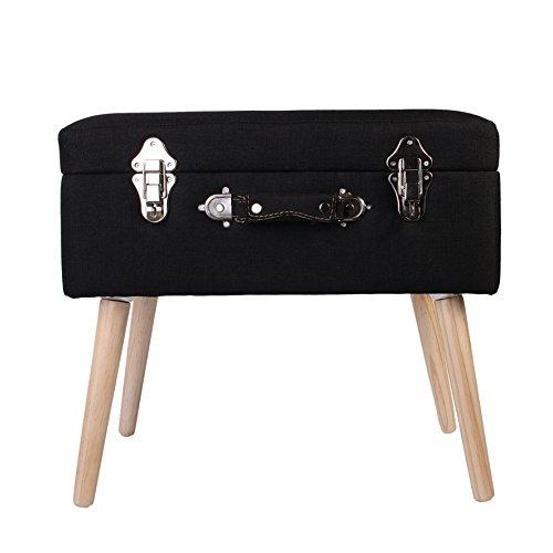 THE HOME DECO FACTORY HD3703 Coffre de Rangement Valise Bois/Polyester Noir 50,50 x 36 x 45 cm