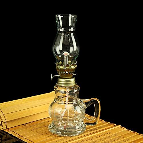 Rudxa Lámpara de Queroseno, lámpara de huracán nostálgica Retro, decoración Interior de Pantalla de Vidrio, lámpara de Aceite de iluminación de Emergencia (18 cm)