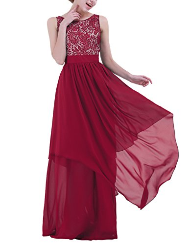 IEFIEL Vestido Largo de Fiesta Boda Cóctel para Mujer Vestido Largo de Dama de Honor Elegante Vestido Largo de Gasa Encaje