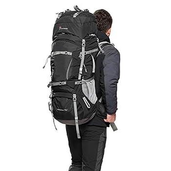 MOUNTAINTOP 70L + 10L Sac à Dos de randonnée/Sac au Dos Trekking Sac avec Housse de Pluie pour l'escalade,Le Camping,la randonnée pédestre, Voyage et Alpinisme,33,5 x 18,3 x 11,8 Pouces