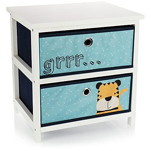 com-four® Cómoda Infantil con 2 cajones - Estantería Infantil con cajones - Estantería de Madera para niños con cajones - Cómoda para la habitación de los niños (Azul)