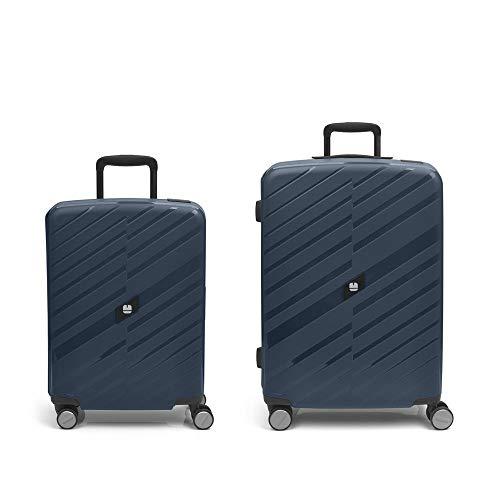 Gabol - Sendai | Blue Rigids Travel Suitcase Set with Cabin Trolley and Medium Trolley