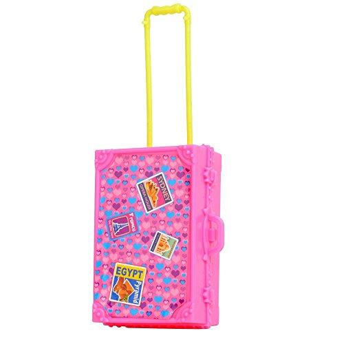 E-TING Voyage en train en plastique rose 3D Suitcase bagages pour poupée Barbie Decor cadeau