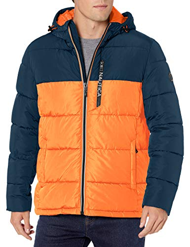 Nautica Men's Water Resistant Hooded Parka Jacket, Rustic Sunset, Large
