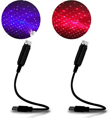 Luz nocturna USB Star romántica para el techo del coche, luz nocturna ajustable para dormitorio, coche, fiesta, techo, Plug and Play (rojo + morado)