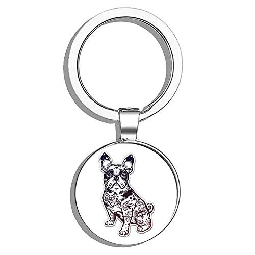 HJ Media French Bulldog Metal Round Metal Key Chain Keychain Ring