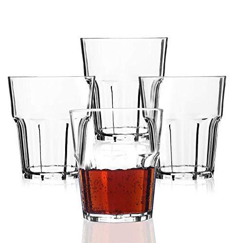 PEMOTech Kunststoff Gläser, Wasserglas [4 Stück] 255ml bruchsicher stapelbar Restaurant-Qualität Premium Acryl Kunststoff Wasser Bier Whiskey Wein Saft Becher Set, BPA-frei und spülmaschinenfest