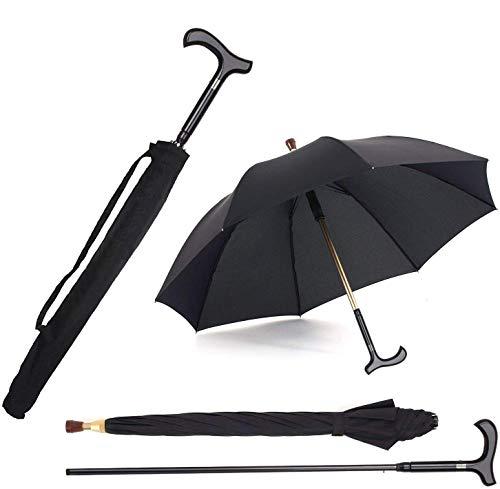 2-in-1 Walking Sticks Umbrella - Windbreak Ribs Walking Cane Crutch Self Protection Umbrella Heavy Duty Solid Tungsten Steel - Ideal Father's Gift for Climbing, Hiking,Rain (Classic:black)