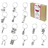 16 Piece Music Themed Wine Glass Charms,Wine Tasting Party Decoration Supplies Gift
