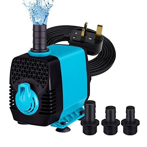 Welltop 2500L/H 550GPH Bomba de agua sumergible, bomba de fuente para estanque, acuario, acuario hidroponía acuario con cable de alimentación de 5 pies, 3 boquillas