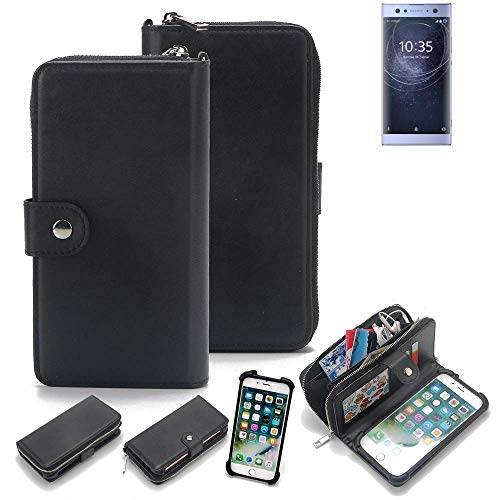 K-S-Trade 2in1 Handyhülle Für Sony Xperia XA2 Ultra Dual-SIM Schutzhülle und Portemonnee Schutzhülle Tasche Handytasche Hülle Etui Geldbörse Wallet Bookstyle Hülle Schwarz (1x)