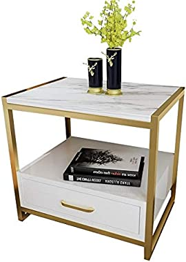 Diffomatealliance Tables Simple Bedroom Mini Storage Locker Bedside Table, Color:A White Piano Lacquer Table