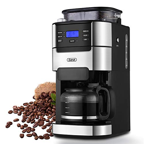 10-Cup Drip Coffee Maker, Grind and Brew Automatic Coffee Machine with Built-In Burr Coffee Grinder, Programmable Timer Mode and Keep Warm Plate, 1.5L Large Capacity Water Tank, Removable Filter Basket, 900W, Black