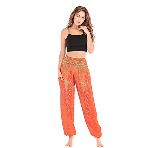 Las mujeres cómodo bohemio harén Pantalones Pantalones Casual Hippie de salón Boho elefante pantalones de pijama (Orange,One Size)